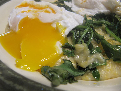 poached eggs polents greens