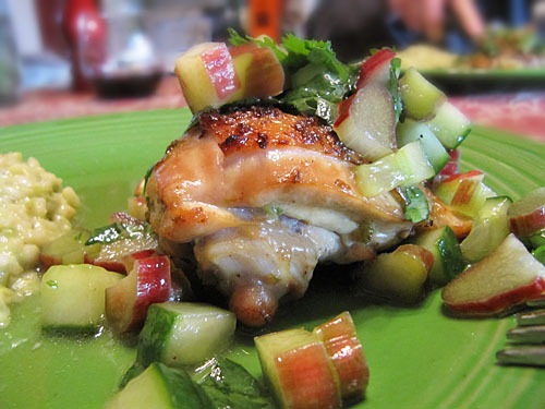 Serve chicken with a little rhubarb salsa on top, with the rest in a ...