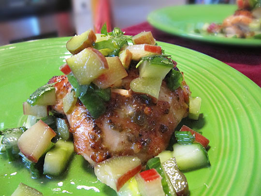 Spicy Chicken Thighs with Rhubarb-Cucumber Salsa « Je Mange la Ville