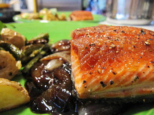 Salmon With Agrodolce Sauce Recipe — Dishmaps
