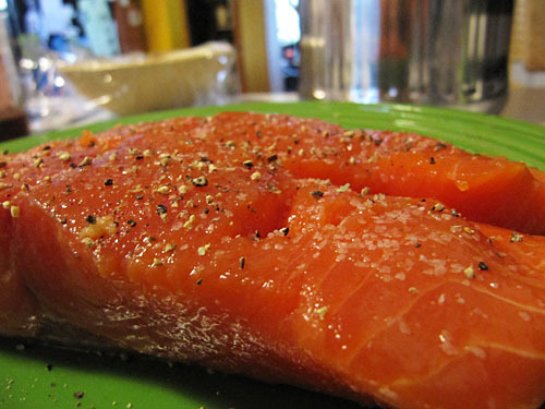 Copper River King Salmon with Wasabi-Aioli and Soy-Maple Drizzle