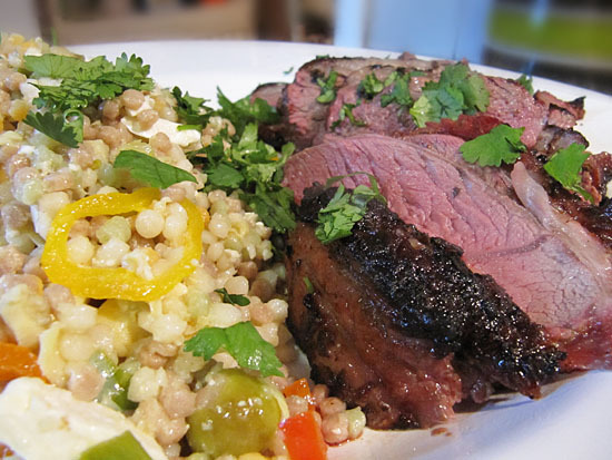 Grilled Yogurt-Spiced Leg of Lamb & Pearl Couscous Salad