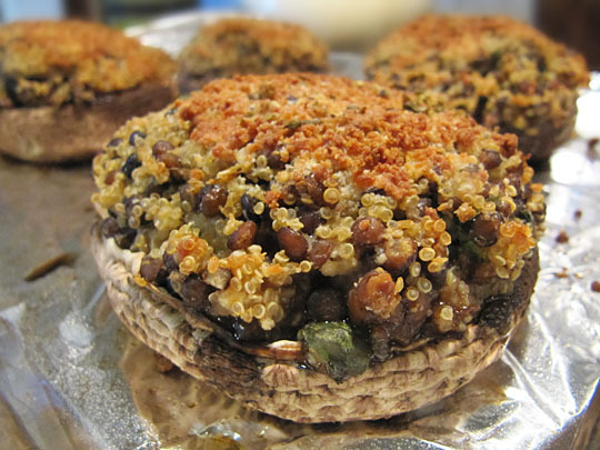 Quinoa & Lentil Stuffed Portobellos