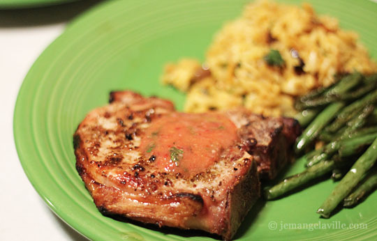 Grilled Pork Chops with Anise Seed Rub and Peach Mojo