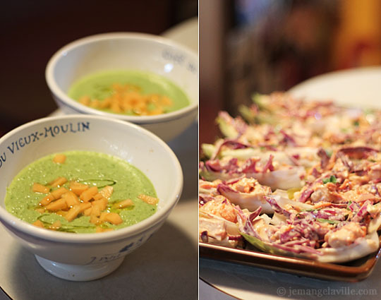 Cucumber Gazpacho and Crunchy Chicken Slaw in Endive