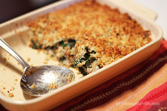Greens and Bulgur Gratin