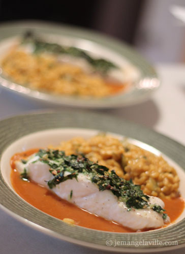 Roast Halibut in Red Bell Pepper Broth