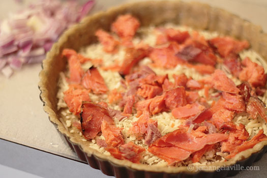 Assembling a Smoked Salmon Quiche