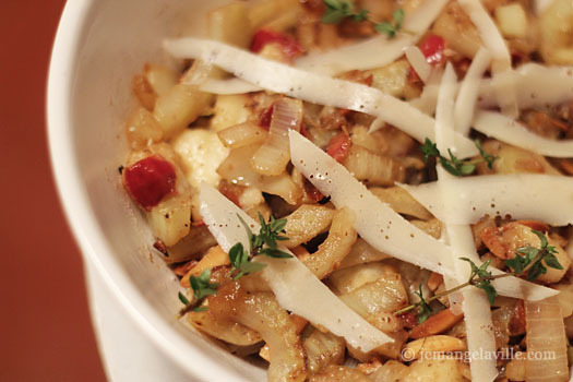 Caramelized Fennel & Pear Hash with Almonds and Parmesan