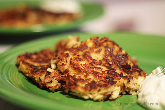 Parsnip and Pear Pancakes with Horseradish Greek Yogurt