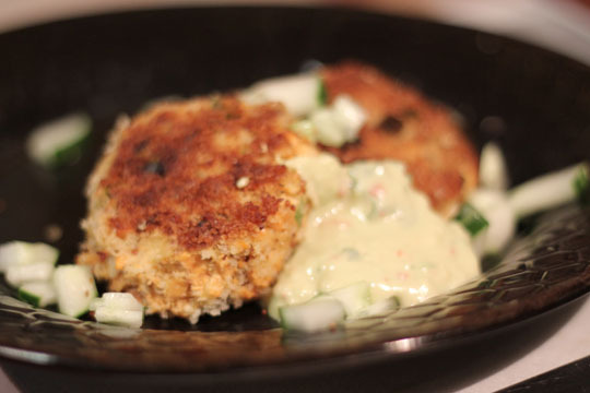 Salmon Cakes with Spicy Avocado Sauce