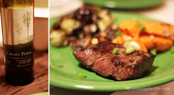 Whiskey-Glazed Flat Iron Steaks with Grilled Sweet Potatoes