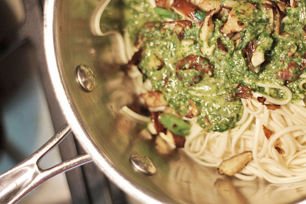 Roasted Cabbage Wedges with Noodles, Mushrooms and Cilantro Lime Dressing