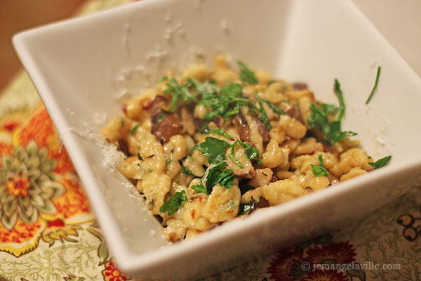 French Fridays with Dorie: Herb-speckled Spaetzle