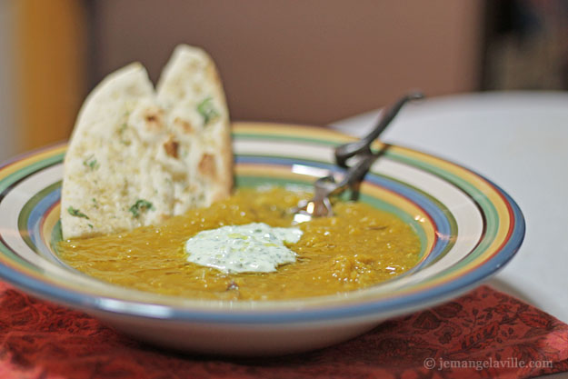 Curry Lentil and Squash Soup with Cilantro Yogurt