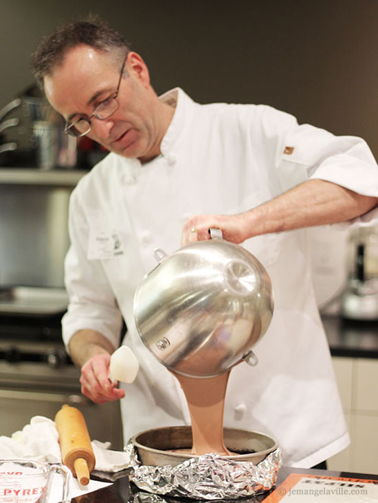 Chef Pierre Fauvet making Sour Cream Raspberry Chambord <span style=