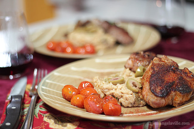 Smoked Paprika Lamb Chops, Green Olive-Goat Cheese Risotto and Roasted Cherry Tomatoes
