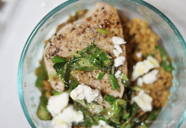 Freekeh with Green Onion Sauce, Toasted Walnuts, Asparagus and Tuna