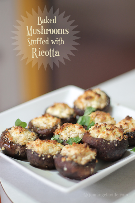 Homemade Ricotta and Baked Mushrooms Stuffed with Ricotta