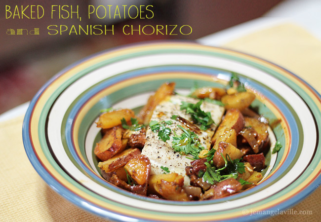 Baked Fish, Potatoes and Chorizo
