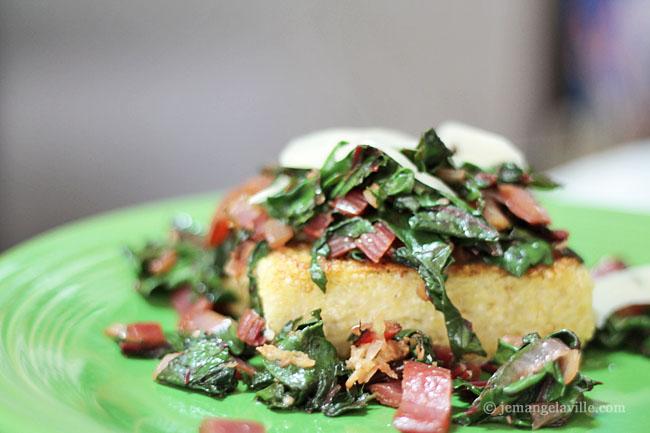 Quinoa Polenta with Sauteed Greens, Parmesan & Apricot Vinegar
