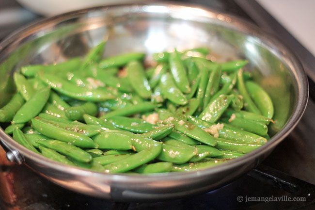 Quick Stir-Fried Sugar Snap Peas with Garlic, Ginger and Wasabi