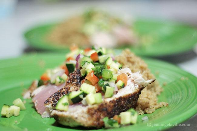 Oregon Albacore Tuna with Zucchini Relish and Cumin-Toasted Quinoa