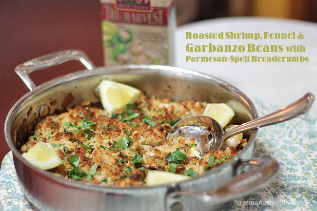 Roasted Shrimp, Fennel, & Garbanzo Beans with Parmesan-Spelt Breadcrumbs