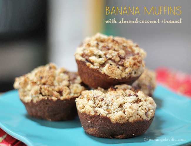 Banana Muffins with Almond-Coconut Streusel