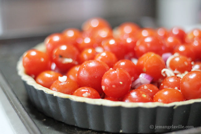Roasted Cherry Tomato Tart with Smoked Mozzarella and Basil