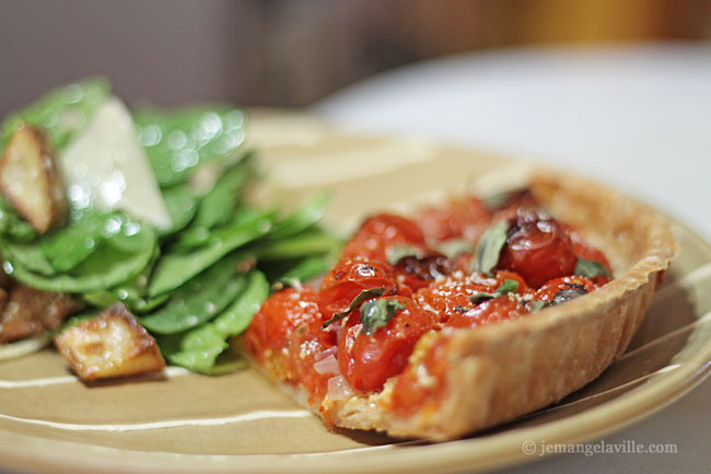 Roasted Cherry Tomato Tart with Smoked Mozzarella and Basil