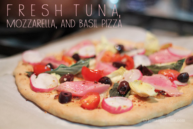 Fresh Tuna Mozzarella and Basil Pizza