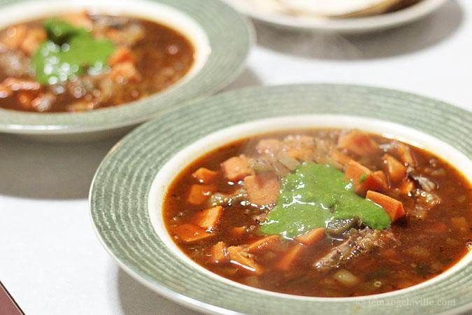 Seared Flank Steak & Quinoa Soup with Cilantro Chimichurri