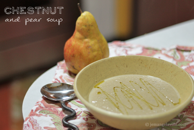 French Fridays with Dorie: Chestnut and Pear Soup