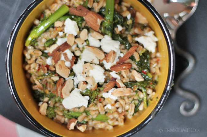 Farro with Roasted Broccoli Rabe & Harissa