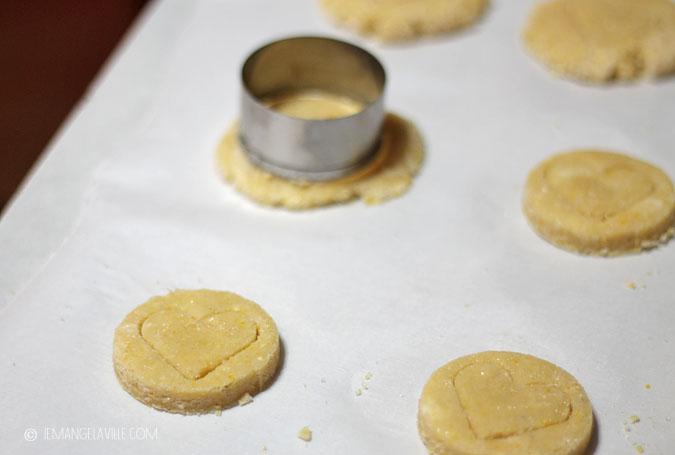 Heart-Glazed Cornmeal Almond Cookies