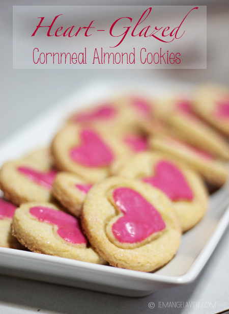 Heart-Glazed Cornmeal Almond Cookies