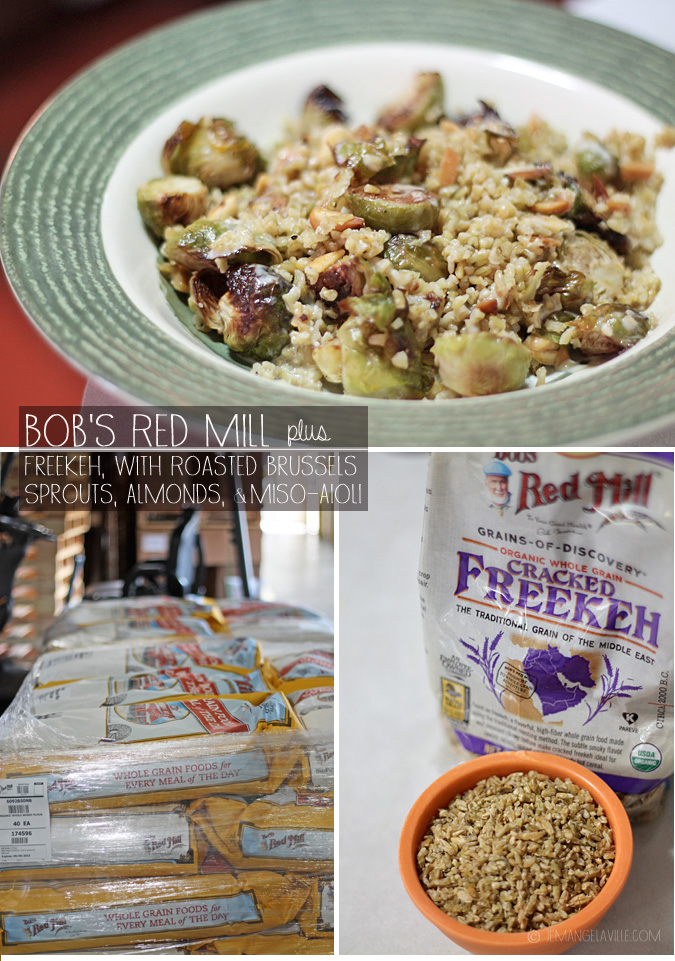 Freekeh with Roasted Brussels, Almonds, and Miso Aioli