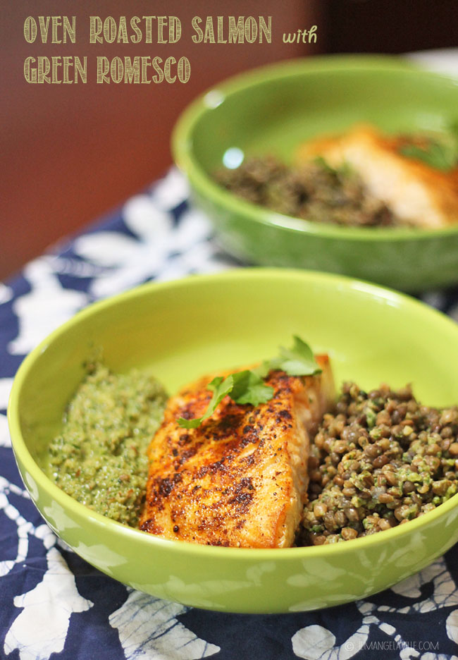 Salmon with Green Romesco